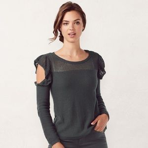 Lauren Conrad Cold Shoulder Ruffle Sweater